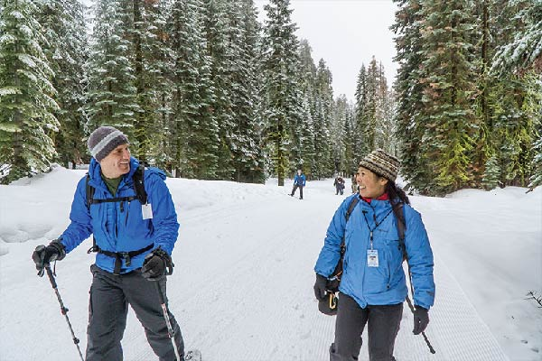 Couple in Yosemite Cross-Country Skiing